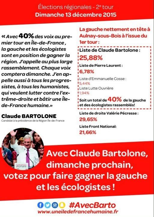 Rassemblement de la gauche et des écologistes Pour une Ile-de-France humaine autour de ClaudeBartolone