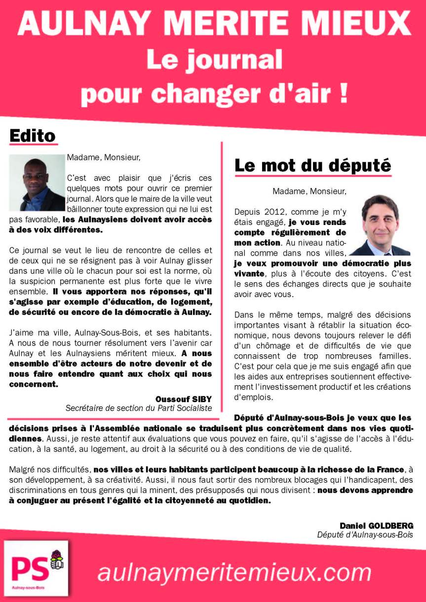 Aulnay merite mieux: le journal pour changerd'air!