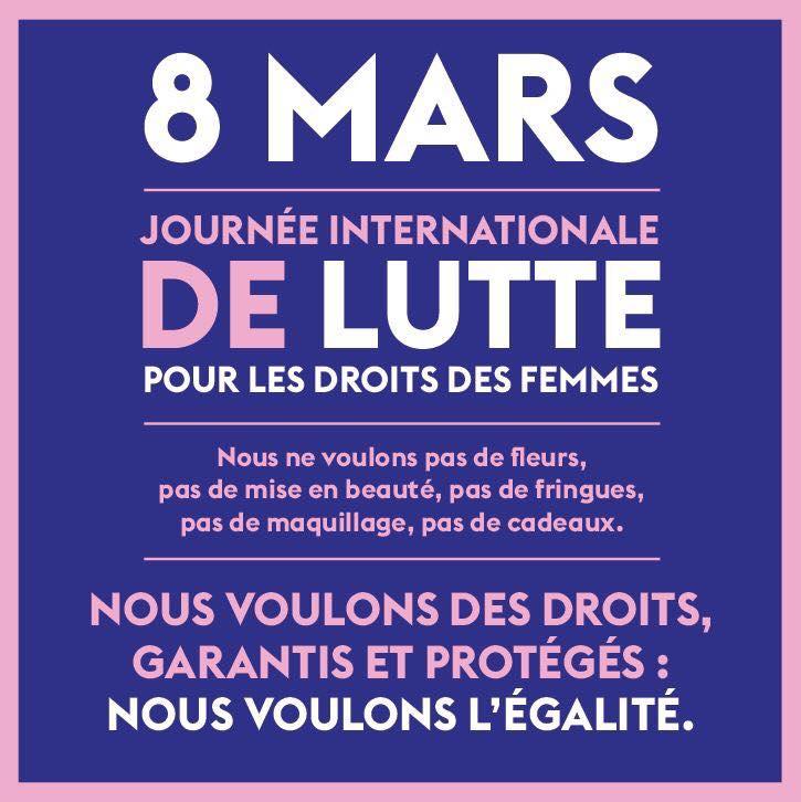 Le 8 mars: Journée internationale des droits des femmes!