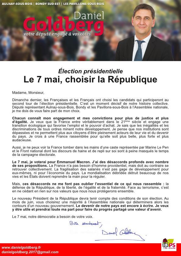 Présidentielles 2017: La lettre du député DanielGoldberg