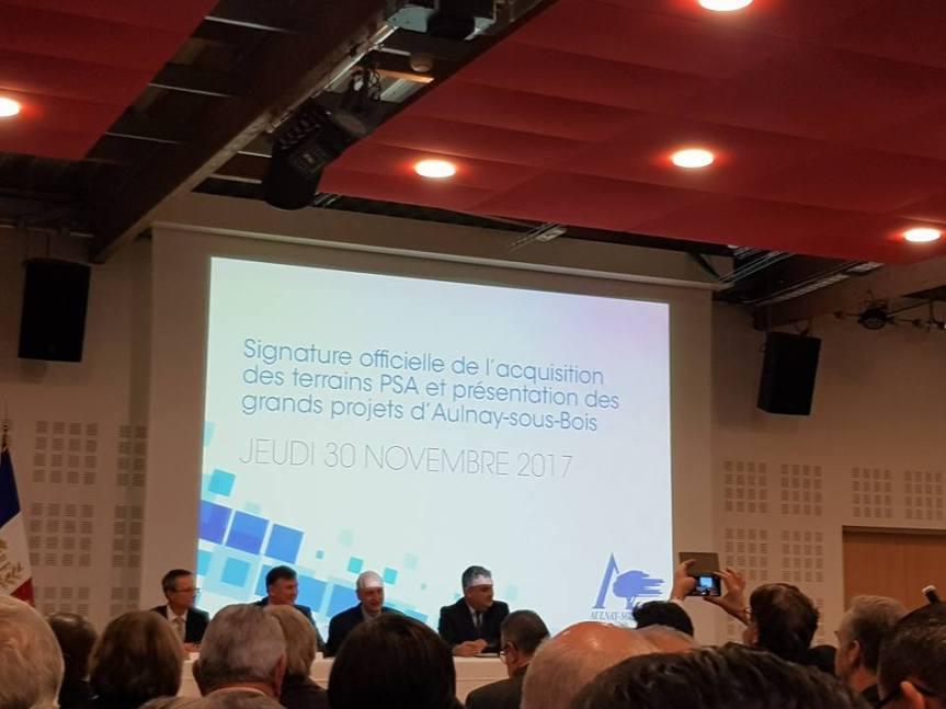 Signature officielle de l'acquisition des terrains PSA et présentation des grands projets d'Aulnay-sous-Bois: des élus de la République exclus par B.BESCHIZZA.