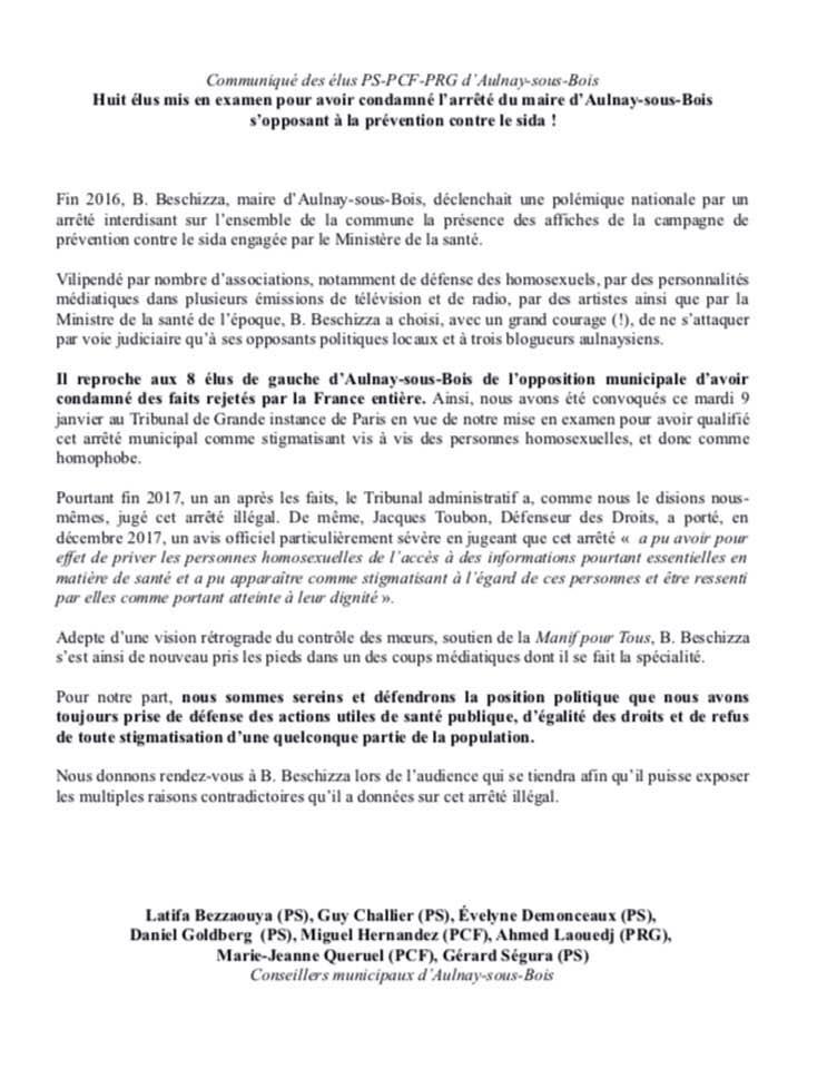 Huit élus mis en examen pour avoir condamné l'arrêté du maire d'Aulnay-sous-Bois s'opposant à la prévention contre le sida!