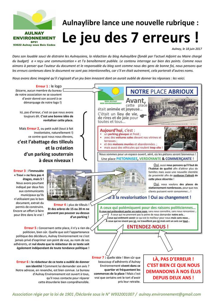 Suite au tract « Notre place Abrioux », quelle véracité accorder aux informations des blogs Aulnaylibre et 93600infos.fr?