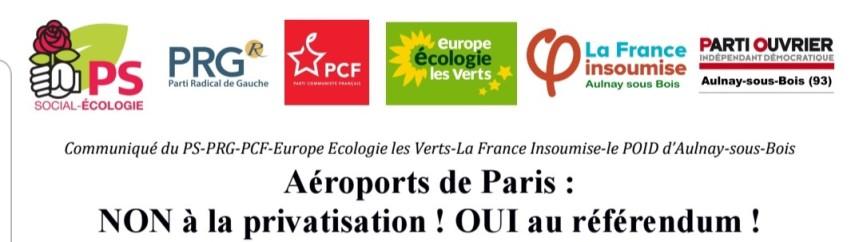 Aéroports de Paris: la gauche à Aulnay dit NON à la privatisation ! OUI au référendum!